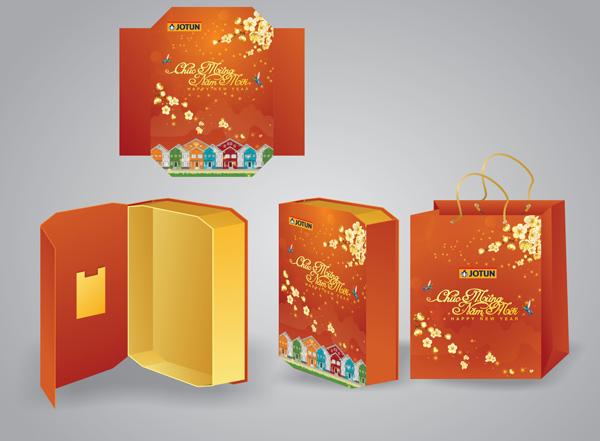 mẫu hộp quà tết màu cam