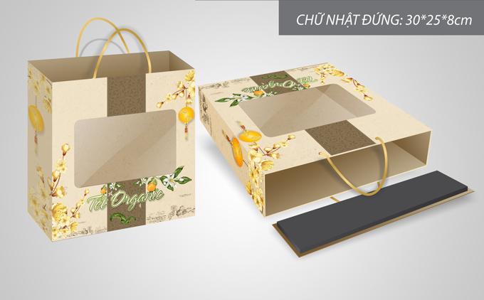 mẫu hộp quà tết màu vàng 1