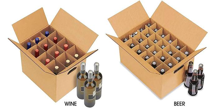 1 mẫu thùng carton đựng chai rượu tại xưởng sản xuất hộp carton