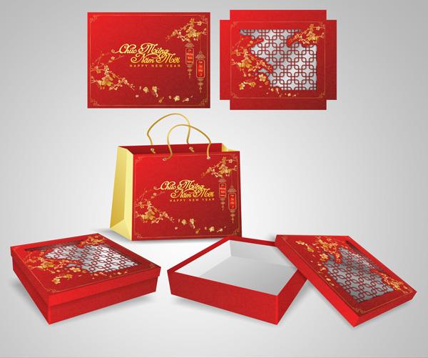 mẫu hộp quà tết màu đỏ 1