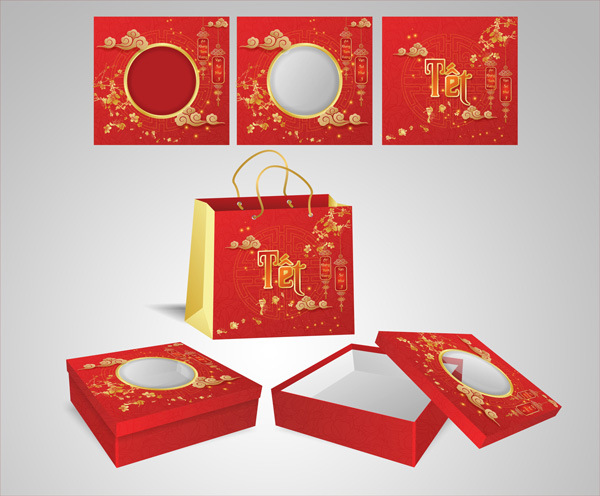 mẫu hộp quà tết màu đỏ 2