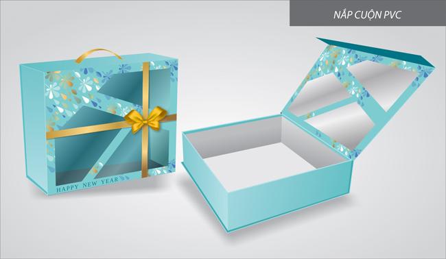 mẫu hộp quà tết màu xanh nước biển