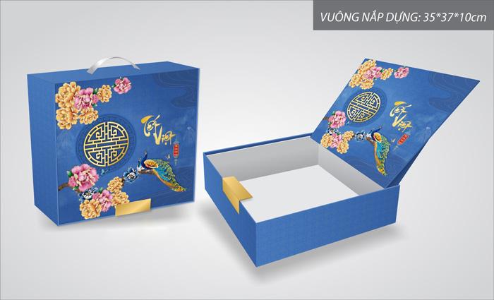 mẫu hộp quà tết màu xanh